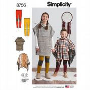 8756 Simplicity Pattern: Child's and Girls' Ponchos and Knit Leggings